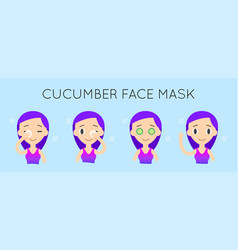 Face cleaning and care cucumber mask step-by-step vector