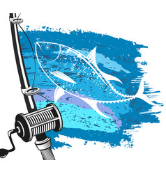 fishing for tuna and wave vector image