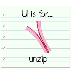 Flashcard letter U is for unzip vector