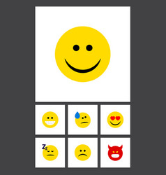 Flat icon expression set of sad grin asleep and vector