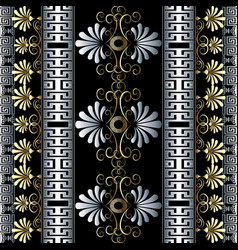 Floral vintage 3d greek seamless borders vector
