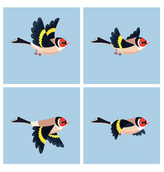 Flying european goldfinch animation sprite sheet vector