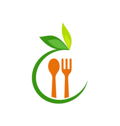 Food spoon organic leaf logo vector