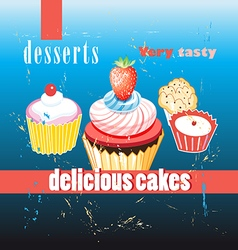 fresh cupcakes vector image