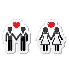 Gay marriage labels vector