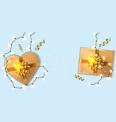 gold gift boxes with lights garland vector image
