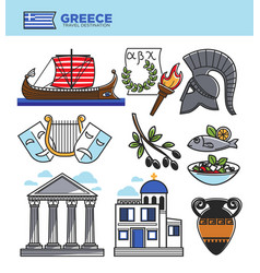 Greece travel tourism landmark symbols and greek vector