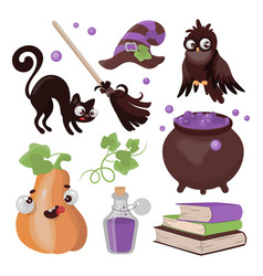 halloween collection hand drawn cartoon clip art vector image