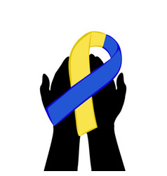 hands hold with yellow blue ribbon world down vector image