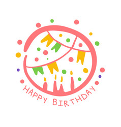 happy birthday promo sign childrens party vector image