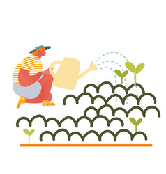 happy girl gardening at home or in greenhouse vector image