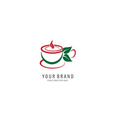 herbal tea symbol logo vector image
