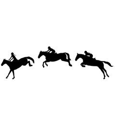 Horse rider jump in three steps jumping show vector