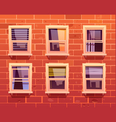 house facade with brick wall and windows vector image
