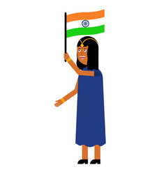 indian girl carries the flag of india vector image