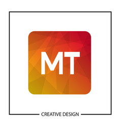 initial letter mt logo template design vector image