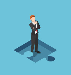 Isometric businessman standing and thinking in vector