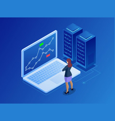isometric businesswomen trading stocks online vector image