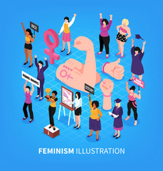 isometric feminism background composition vector image