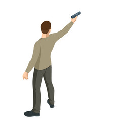 Isometric man with a gun in his hand isolated vector
