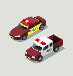 Isometric police car collections vector
