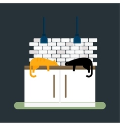 Kitchen cats and furniture interior flat style vector image