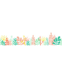 leaves summer border frame bottom horizontal vector image