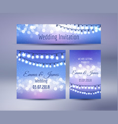 lights bokeh and garlands wedding cards vector image