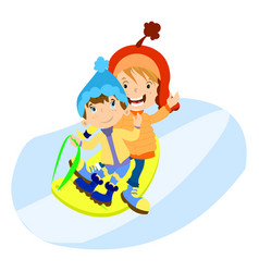 little boys in winter clothes play vector image
