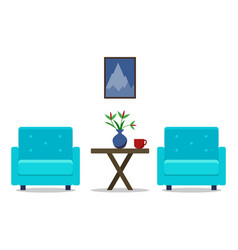 living room interior with armchairs furniture vector image