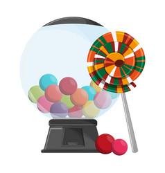 Lollipop and gums dispenser crystal ball vector