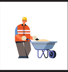 male builder pushing wheelbarrow with sand busy vector image