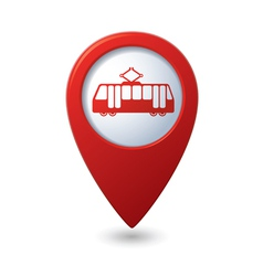 Map pointer with tram icon vector image