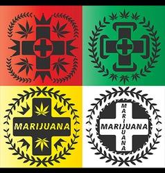 medical cannabis leaf cross symbol design vector image