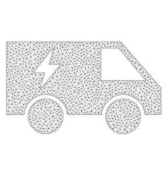 Mesh electric power car icon vector
