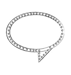 Monochrome sketch of oval speech with tail and vector