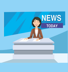 news anchor girl on the tv news today in studio vector image