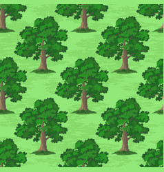 oak trees seamless vector image