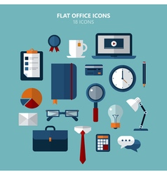 Office Icons Set in Flat Style vector