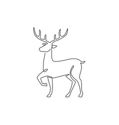 one single line drawing adorable funny deer vector image