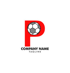 p letter logo football ball logo design vector image
