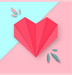 Paper red heart on pink and blue thin vector