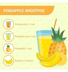 Pineapple smoothie recipe with ingredients vector image