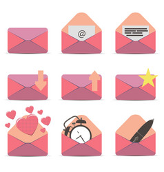 pink envelope icon email white contact message vector image