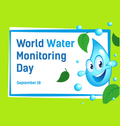 Poster with cartoon drop water international vector