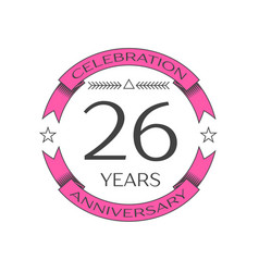 realistic twenty six years anniversary celebration vector image