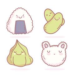 Rice shaped cat face wasabi sushi peas cartoon vector