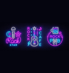 rock music collection neon logos rock pub vector image