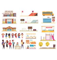 School cartoon icons set vector