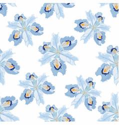 seamless floral pattern arrangement blue iris vector image
